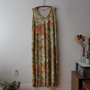 Floral Green and Orange Long Dress